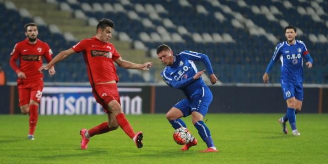 Pandurii Târgu Jiu a fost învinsă , scor 3-2, de Dinamo Bucureşti şi a  ratat calificarea în sferturile de finală ale Cupei României