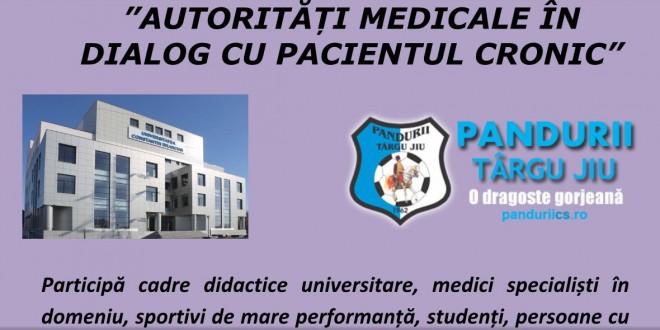 """UCB Târgu Jiu şi clubul Pandurii organizează conferinţa cu tema """"Autorităţi medicale în dialog cu pacientul cronic"""""""