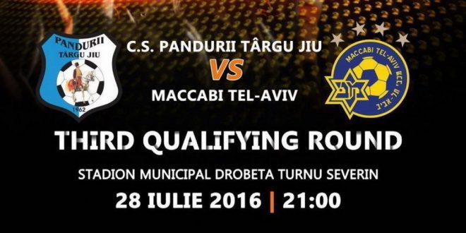 Bilete şi acreditări de presă pentru meciul din Europa League dintre Pandurii Târgu Jiu şi Maccabi Tel Aviv