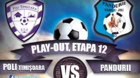 ETAPA A 12-A PLAY – OUT / Poli Timişoara – Pandurii Târgu Jiu, marţi, 23 mai, ora 20.30