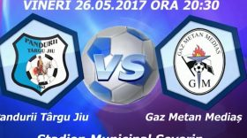 Transport gratuit pentru suporterii gorjeni la Severin, la meciul dintre Pandurii Târgu Jiu şi  Gaz Metan Mediaş