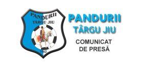 COMUNICAT DE PRESĂ / Pandurii Târgu Jiu a primit aviz favorabil din partea DSP Gorj pentru meciul cu FCU Craiova