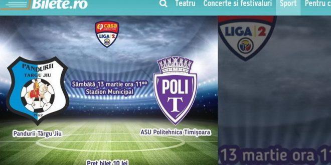 BILETE ONLINE / Pandurii Târgu Jiu pune în vânzare bilete online pentru meciul din etapa a 19-a cu ASU Politehnica Timişora