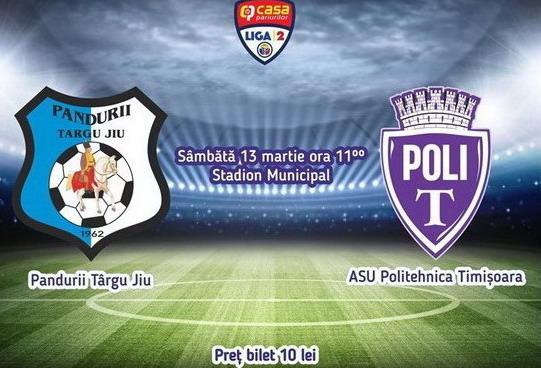 ETAPA A 19-A / Pandurii Târgu Jiu vă invită să susţineţi echipa achiziţionând bilete online virtuale pentru meciul cu ASU Politehnica Timişoara