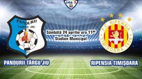 LIGA II / Grupa A Play-out / Etapa 5-a / Pandurii Târgu Jiu vs Ripensia Timișoara / Pandurii Târgu Jiu vă invită să susţineţi echipa achiziţionând bilete online, virtuale, pentru meciul cu Ripensia Timişoara