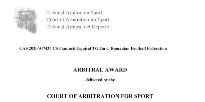 COMUNICAT / Pandurii Târgu Jiu a câştigat procesul cu FRF de la Tribunalul de Arbitraj Sportiv de la Lausanne