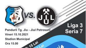 ETAPA A 8-A / Meciul dintre Pandurii Târgu Jiu şi Jiul Petroşani este programat pentru vineri, 15 octombrie, ora 15:00